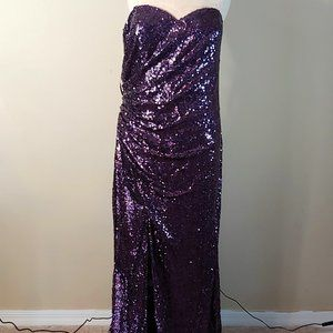 NWT Faviana Sequined Plus Size Long Gown in Purple